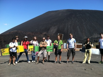 Volcano-boarding near Leon, Nicaragua
