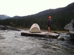 River rock tent site, Kootenai River, MT